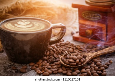 Late arts coffe  and coffee beans