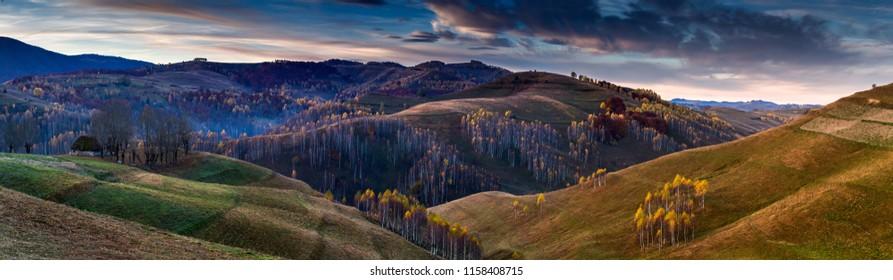 Late autumn landscapes at sunrise from Transylvania, Romania