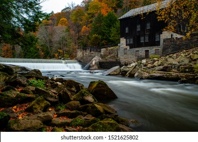 A late autumn view of the historic McConnells Mill along Slippery Rock Creek within the scenic McConnells Mill State Park in the Appalachian Mountains of western Pennsylvania.