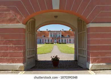 Late barocco styled Sagadi Manor, built in 18th century, Estonia. Sunny summer day.