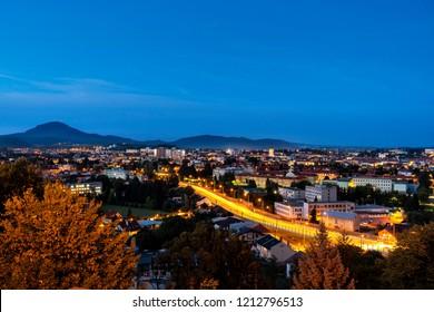 Late blue hour shot of Presov, Slovakia. Presov city nightscape.