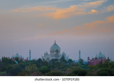 Late evening distant view of Taj Majal