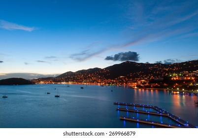 Late evening with many lights in Caribbean port of Saint Thomas, US Virgin island