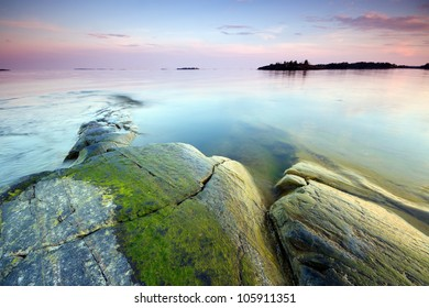 Late evening seascape in Uutela nature park, Finland