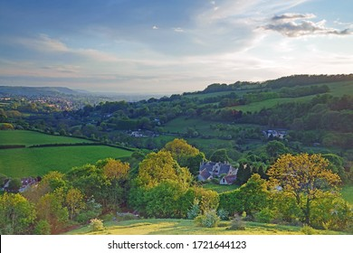 Late evening sunlight over the Slad valley, Swifts Hill, The Cotswolds, Gloucsetershire, UK