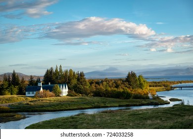 Late evening view of popular Thingvellir National Park in autumn, Iceland.