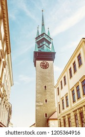 Late gothic Town hall tower, Znojmo, southern Moravia, Czech republic. Architectural theme. Yellow photo filter. Travel destination.