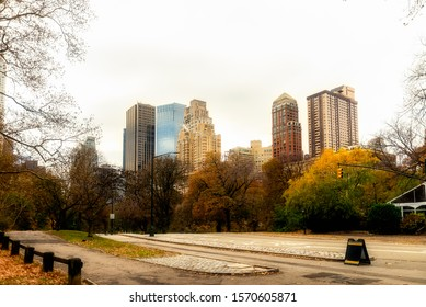 Late moody autumn in Central Park at Manhattan, New York City, USA