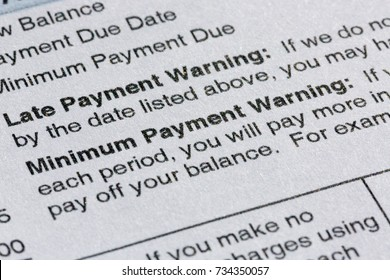 Late payment warning on credit card statement