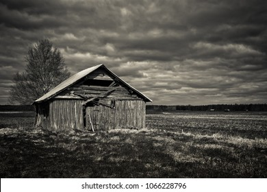 The late spring comes with the heavy clouds on the old barn house in the rural Finland. The tree is bare and nothing much is growing on the fields.
