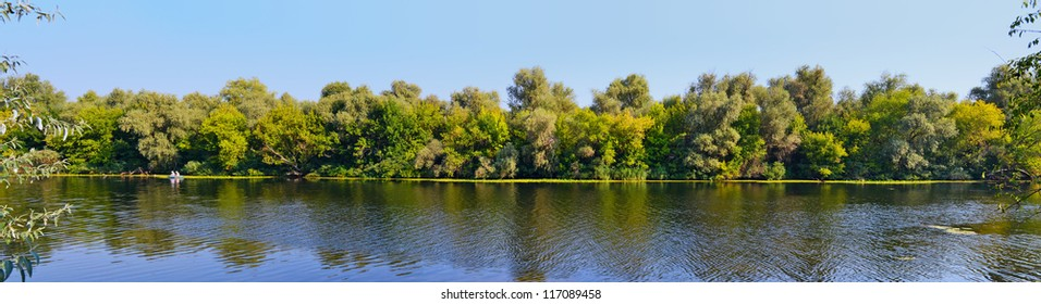 A late summer Dnieper branch panoramic view in Southern Ukraine
