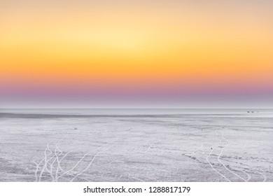 Late sunset scene at White Rann, In Greater Rann of Kutch, Gujarat, India