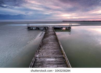 Late winter - spring sunrise on Lake Neusiedl (Burgenland, Austria)