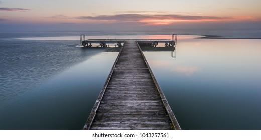 Late winter sunrise on Lake Neusiedl (Burgenland, Austria)