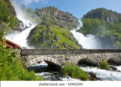 Latefossen (Latefoss) - one of the biggest waterfalls in Norway, Scandinavia, Europe