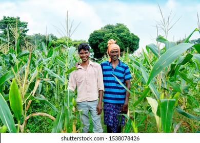 latehar, Jharkhand - 10 Tuesday 2019: happy Indian farmer on his farm land