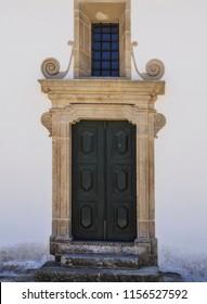 Lateral Door in Baroque style of the parish church in the town of Vila Nova de Foz Coa, Portugal