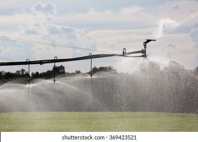A Lateral Move Irrigation System, sometimes called a Linear Move, Wheelmove or Side Roll System, irrigating crops in Australia. These systems are often 500 meters to 1000 meters long.
