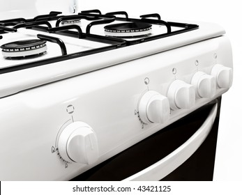 lateral view on part of white gas cooker over the white background