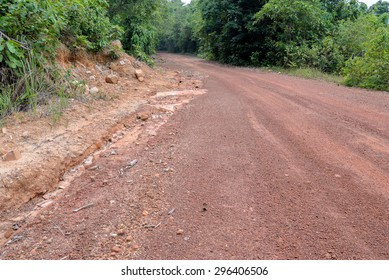 laterite road in countryside in  thailand
