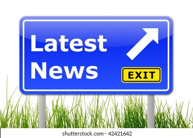latest news concept with road sign illustration