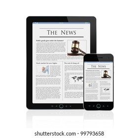 Latest news at digital tablet and smart phone isolated on white background