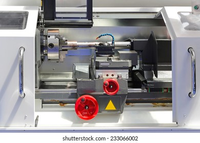 Lathe machine tool in metal workshop