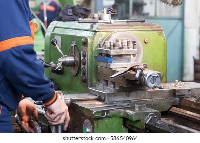Lathe in a working position, shot on natural light to see blurred movements turner.