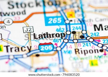 Lathrop California Usa On Map Stock Photo Edit Now 796083520