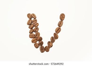 Latin alphabet from coffee