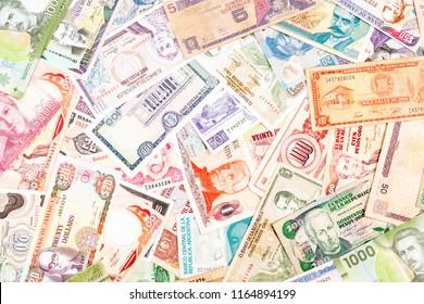Latin America paper bank money background.
