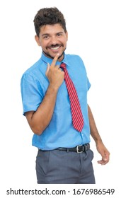 Latin american businessmann with beard and tie isolated on white background for cut out