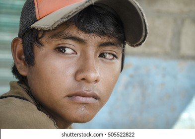 Latin American teen. Great glance portrait from a young boy in the southern border of Mexico