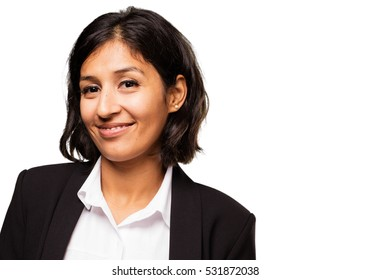 latin business woman smiling