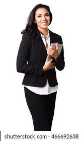 Latin Businesswoman with digital tablet computer on white background