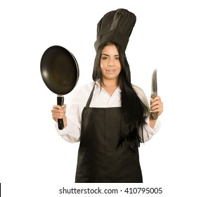 Latin chef woman  isolated