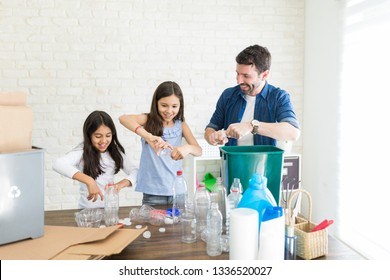 Latin family of three squeezing bottles to prevent environmental damage