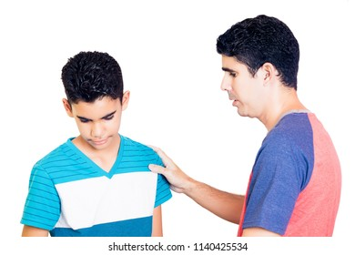 Latin father comfort to his teenager son isolated on white