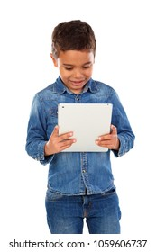 Latin funny child with a tablet isolated on a white background