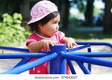 Latin girl on the playground