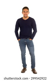 latin handsome guy posing with hand on pockets isolated on white
