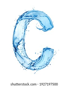 Latin letter C made of water splashes, isolated on a white background