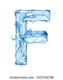 Latin letter F made of water splashes, isolated on a white background