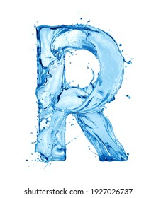 Latin letter R made of water splashes, isolated on a white background