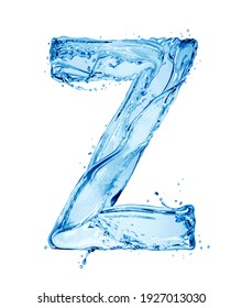 Latin letter Z made of water splashes, isolated on a white background