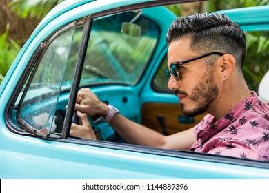 Latin man traveling in Tulum, Mexico.