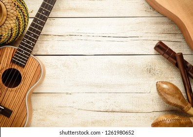 latin music instruments living background, top table view
