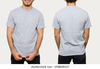 Latin young man in his 30s wearing a gray casual t-shirt. Front and rear view of a mock up template for a t-shirt design print