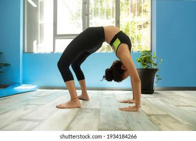 latina brunette girl Practicing yoga Seated Asanas Action URDHVA DHANURASANA