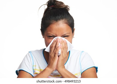 latina girl with flu symptom isolated on white background
